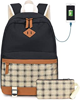 Canvas School Backpack Glitter Womens College Backpack with USB Charging Golden
