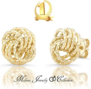 Certified 14K Yellow Gold 1.80 grams Diamond Cut Love Knot Stud Earrings I Gift Boxed l Made in Italy (14K-E2890)