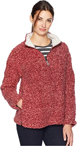 Soft Shearling Tipped Pile 1/4 Zip Stadium Pullover