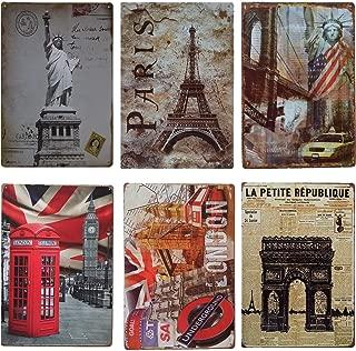 World Famous Building Metal Tin Sign Deco,home Bar Cafe Decoration 6pcs 30cm20cm (7.8711.81inch)