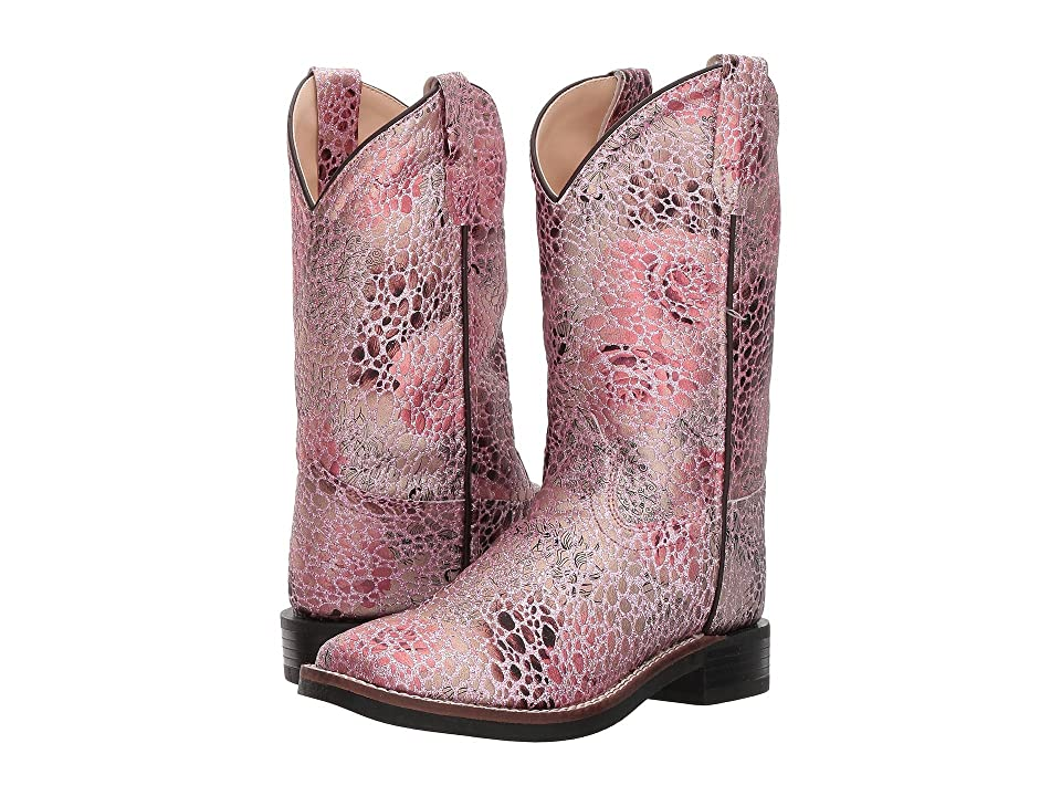 Old West Kids Boots Square Toe Leatherette (Toddler/Little Kid) (Antique Pink) Cowboy Boots