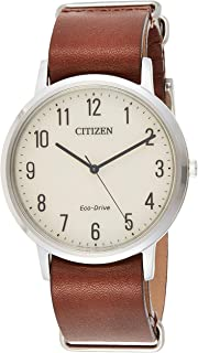 Men's 'Eco-Drive' Quartz Stainless Steel and Leather Casual Watch, Color:Brown (Model: BJ6500-21A)
