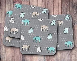 Posavasos grises con diseño de elefante multicolor, posavasos individuales o juego de 4