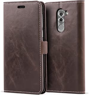 Huawei Honor 6X Case,Mulbess Vintage Leather Wallet Case with TPU Inner Shell, Magnetized Closure, Card Slots Money Pouch and Stand Feature for Huawei Honor 6X,Coffee Brown