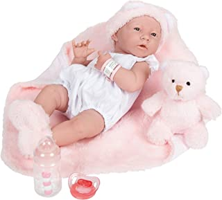 """JC Toys La Newborn All-Vinyl-Anatomically Correct Real Girl 15"""" Baby Doll in White and Deluxe Accessories, Designed by Ber..."""
