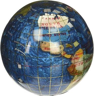 "Unique Art 4.3"" (110 mm) Diameter Gemstone Globe Paperweight Paper weight (Bahama Blue Swirl)"