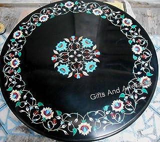 Gifts And Artefacts - Mesa de Oficina de mármol Negro de 76,2 cm con Piedras Preciosas y diseño de Flores, se Puede Utiliz...