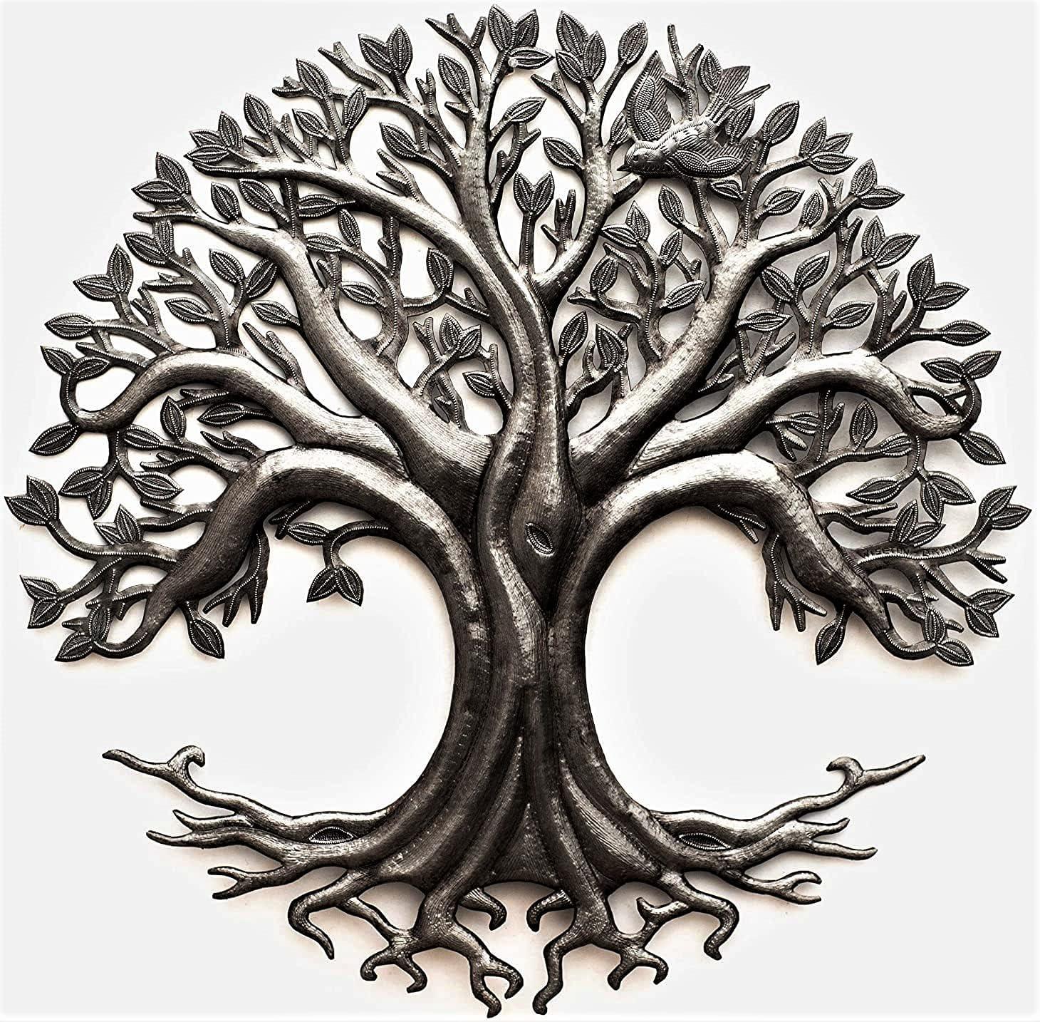 Tree of Life, Garden Metal Plaque, Indoor and Outdoor Wall Décor 23 Inches Round Haitian Art