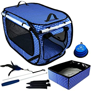 """Pet Fit For Life Large (32""""x19""""x19""""), Medium (24""""x16""""x15"""") Collapsible/Portable Cat Cage/Condo Plus Bonus Cat Feather Toy and Collapsible Water/Food Bowl"""