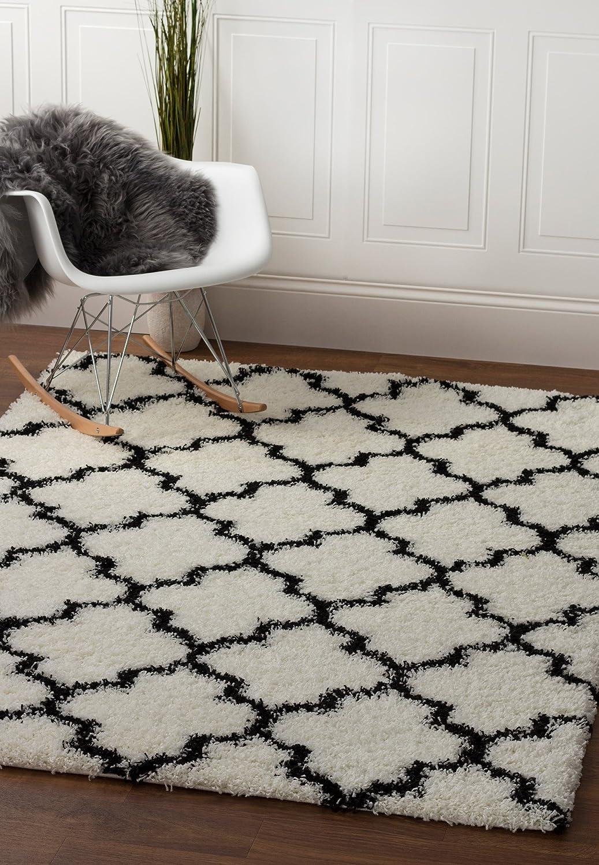 Super Area Rugs Modern Max 89% OFF Max 73% OFF Geometric Design Shag White Rug Soft B