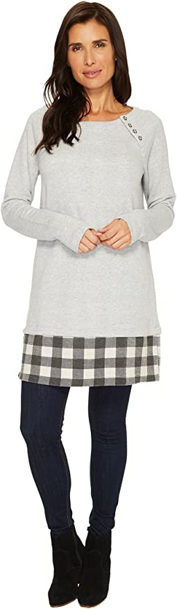 Mod-o-doc - Buffalo Check Terry Long Sleeve Raglan Tunic with Buffalo Check Hem