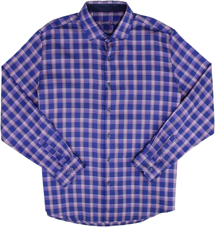 Tasso Elba Mens Bossini Button Shirt Plaid Up 売買 特売
