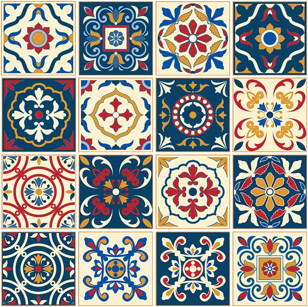 Waterproof Vinyl Wall Tiles Sticker 16 Pcs 6x6 inches, for Home Decor Self-Adhesive Peel and Stick Backsplash Tile Decals for Kitchen Bathroom Decor