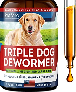Triple Dog Dewоrmer - Made in USA - Dewоrmer for Puppies, Small & Large Breeds - Wоrm Treatment - Powerful Canine Dewоrmer for Hookwоrm, Roundwоrm & Tapewоrm - Liquid Dog Wоrmer with MAX Absorption