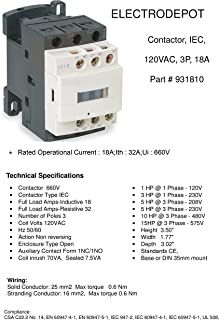 Electrodepot 20 Amp Motor Control AC Contactor 18A 3 Phase 3-Pole, Lighting 32A Coil 120V - 100% Quality