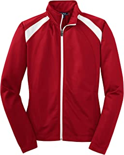 Women's Long-Sleeve Full Zip Polyester Athletic Running Tricot Track Jacket, True Red/White