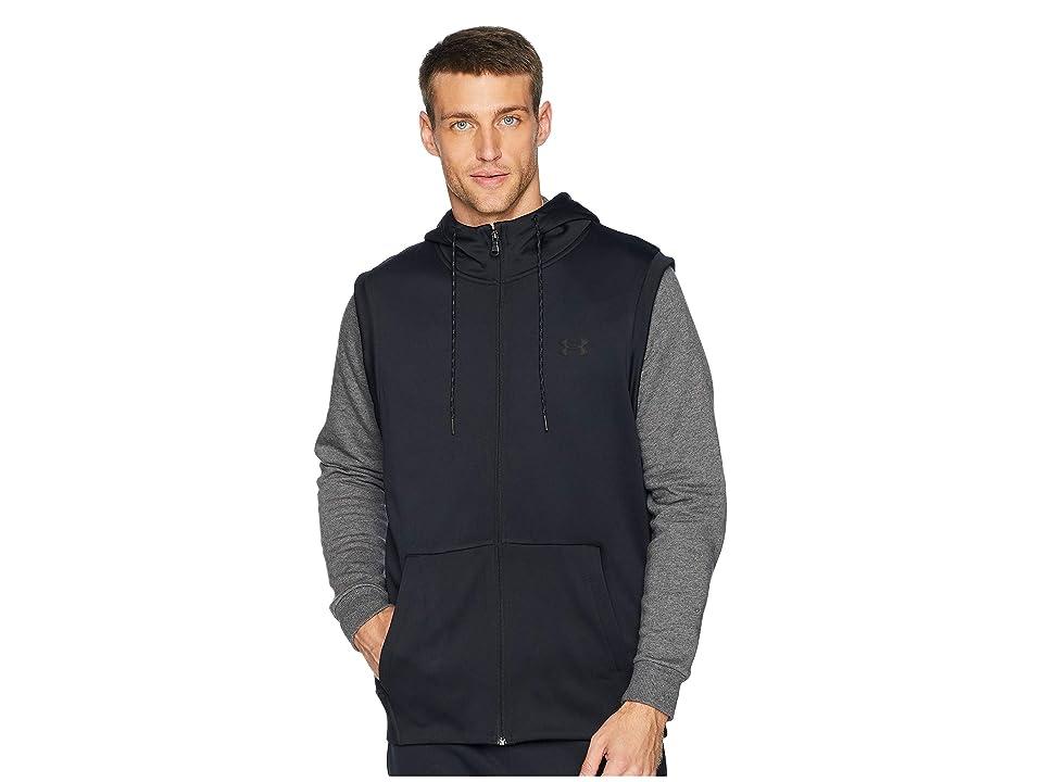 Under Armour Armour Fleece Sleeveless Full Zip Hoodie (Black/Black) Men