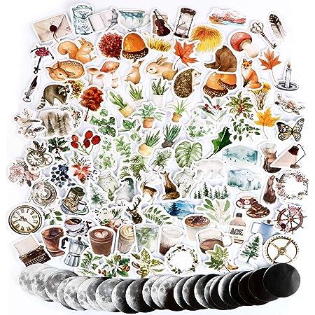 274PCS Autocollants Stickers Automne Amimaux Fleurs Plantes Etiquettes Adhésif de DIY Scrapbooking Album Photo 6 Boîtes pour Journal plan bricolage artisanat Scrapbooking Journal (Style_A)