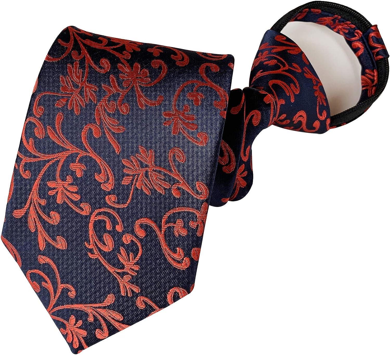 Secdtie Mens Boys Skinny Zipper Tie Wedding Paisley Check Easier Designer Necktie