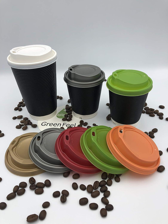 Gobelets ronds en papier chaud avec bouchon blanc pour le café et les boissons à emporter, Papier, Noir, 16oz (500pcs)