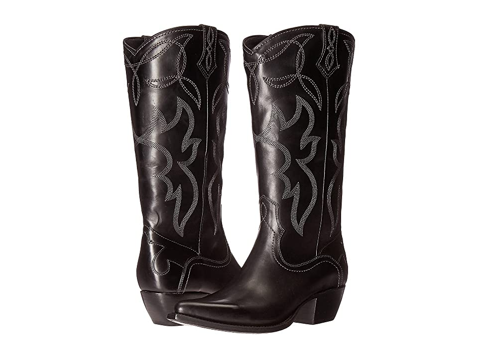 Frye Shane Embroidered Tall (Black Smooth Veg Calf) Cowboy Boots