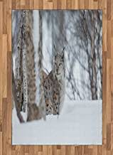 Ambesonne Animal Area Rug, European Lynx Snowy Cold Forest Norway Nordic Country Wildlife Apex Predator, Flat Woven Accent Rug for Living Room Bedroom Dining Room, 4' X 5.7', Pale Brown White