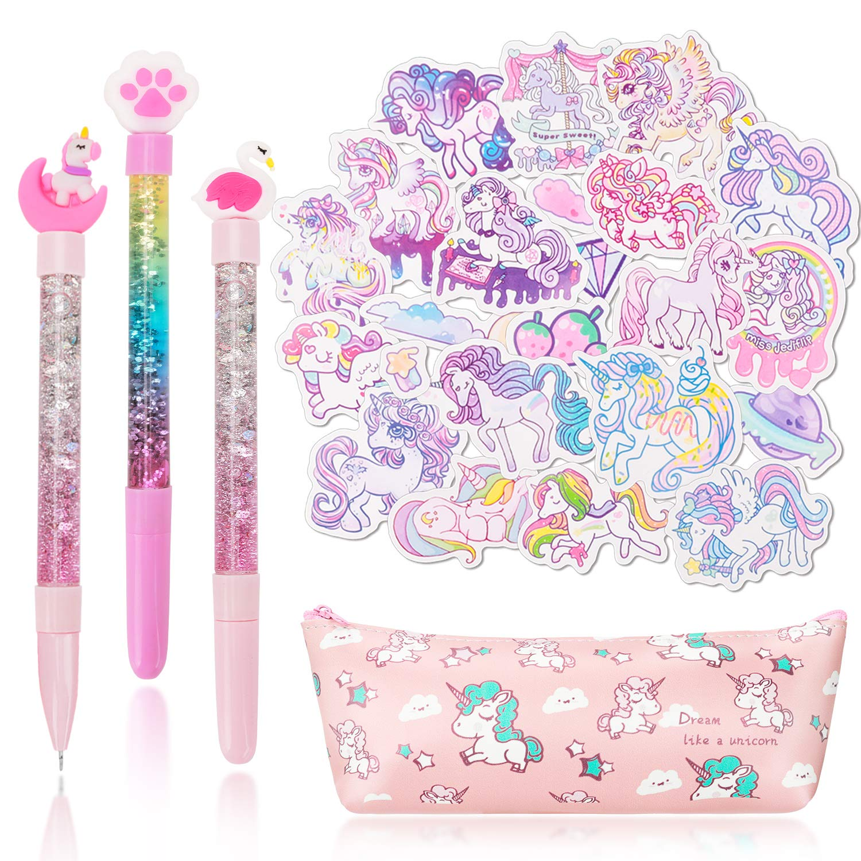 Qpout Unicorn Stationary Gift Set School Supplies, 1 Estuche de lápices Bolsa / 3 Bolígrafos de Gel /