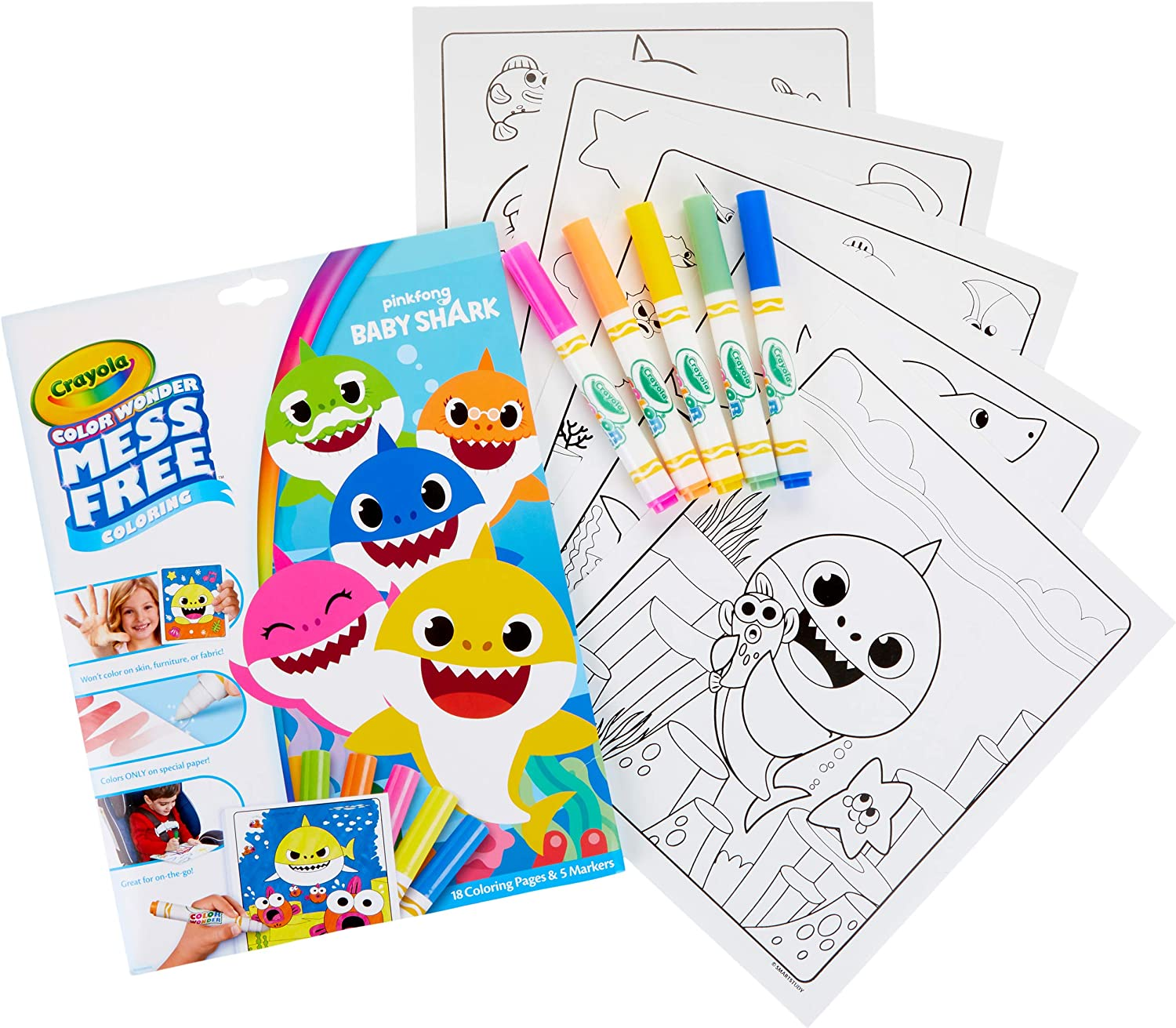 Amazon Com Crayola Baby Shark Wonder Pages Mess Free Coloring Gift For Kids Toys Games