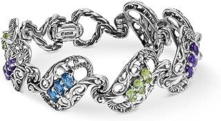 Sterling Silver Blue Topaz, Purple Amethyst, and Green Peridot Gemstone Bracelet Size S, M or L