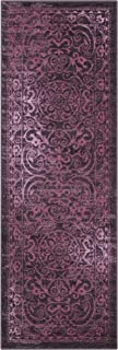 Maples Rugs Runner Rug - Pelham 2' x 6' Non Skid Hallway Entry Rugs Runner [Made in USA] for Kitchen and Entryway, Wineberry