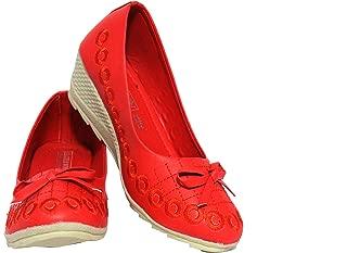 Leatherwood 1 Girls Slip on Red Ballerinas