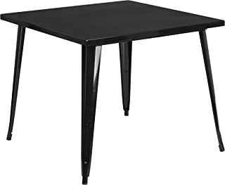 Flash Furniture 35.5'' Square Black Metal Indoor-Outdoor Table