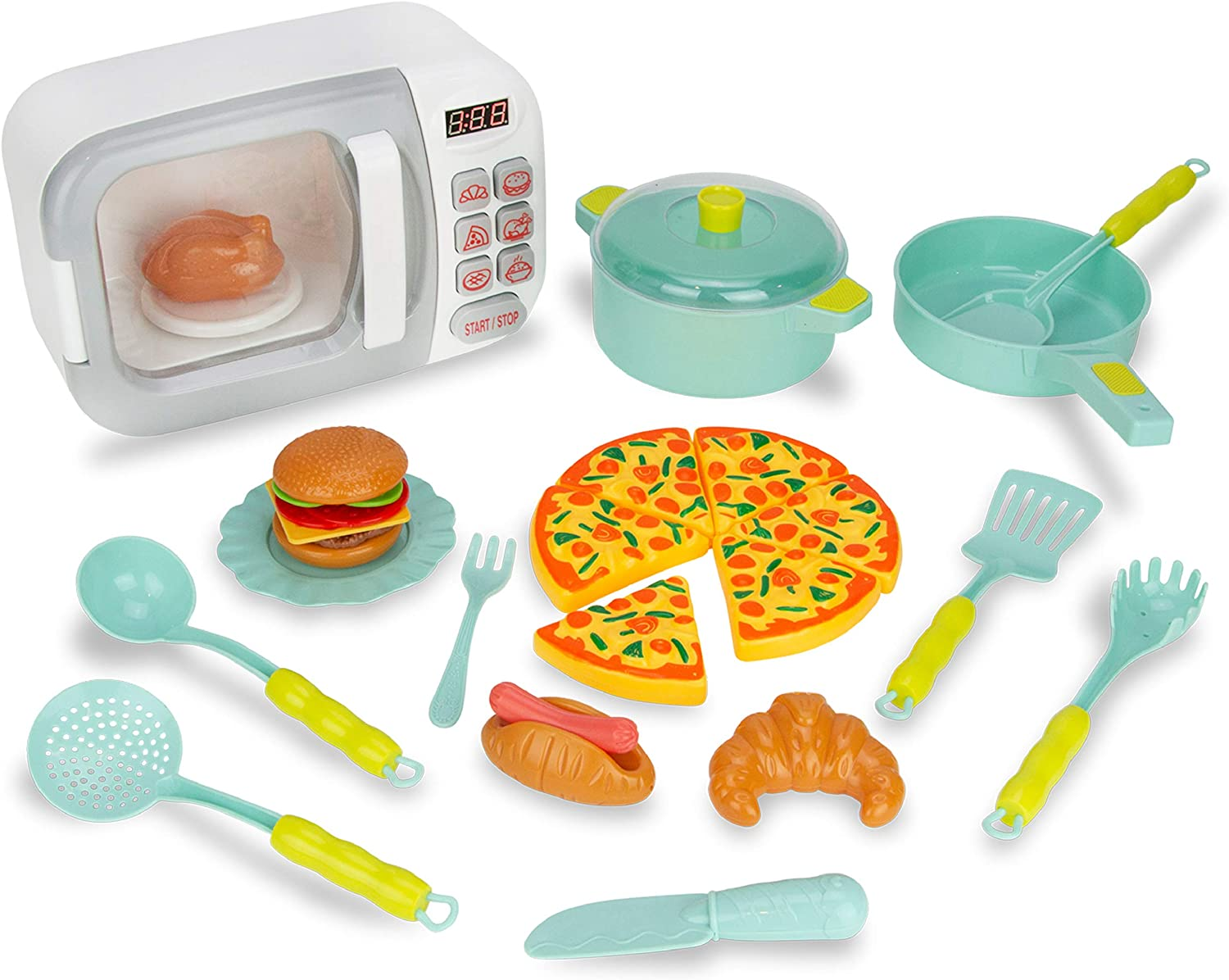 Boley Toy Microwave Playset - 26 Pc Light & Sound Oven w/ Play Kitchen Accessories for Kids Ages 3+