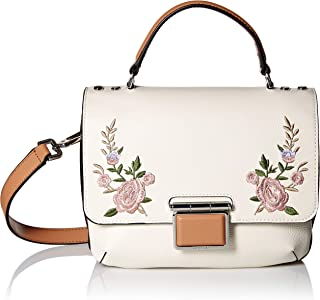 Dani Hermine Leather Floral Embroidery Top Handle Flap Crossbody