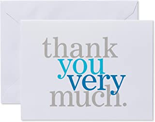 American Greetings Thank You Cards with Envelopes, Blue and Grey (50-Count)