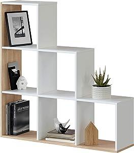 Habitdesign Estantería Librería, Salón, Comedor o Despacho, Modelo Lua, Acabado en Blanco Artik y Roble Canadian, Medidas: 108 cm (Largo) x 110 cm (Alto) x 28 cm (Fondo)