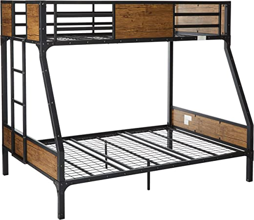 Kids' Furniture ✅24/7 Shop at Home 247SHOPATHOME IDF-BK029TF Bunk Bed, Twin Over Full, Black