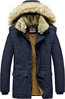JYG Men's Winter Thicken Coat Faux Fur Lined Jacket with Removable Hood