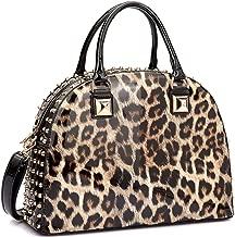 Dasein Patent Leather Handbag Domed Satchel Bag Rhinstone Structured Shoulder Bag