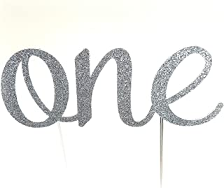 Handmade 1st Birthday Cake Topper Decoration - One - Double Sided Glitter Stock (Silver)