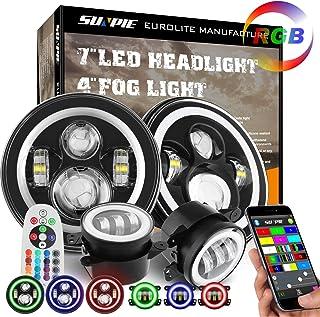 SUNPIE 7 inch RGB Halo LED Headlights + 4 inch Fog Lights Combo for Jeep Wrangler..