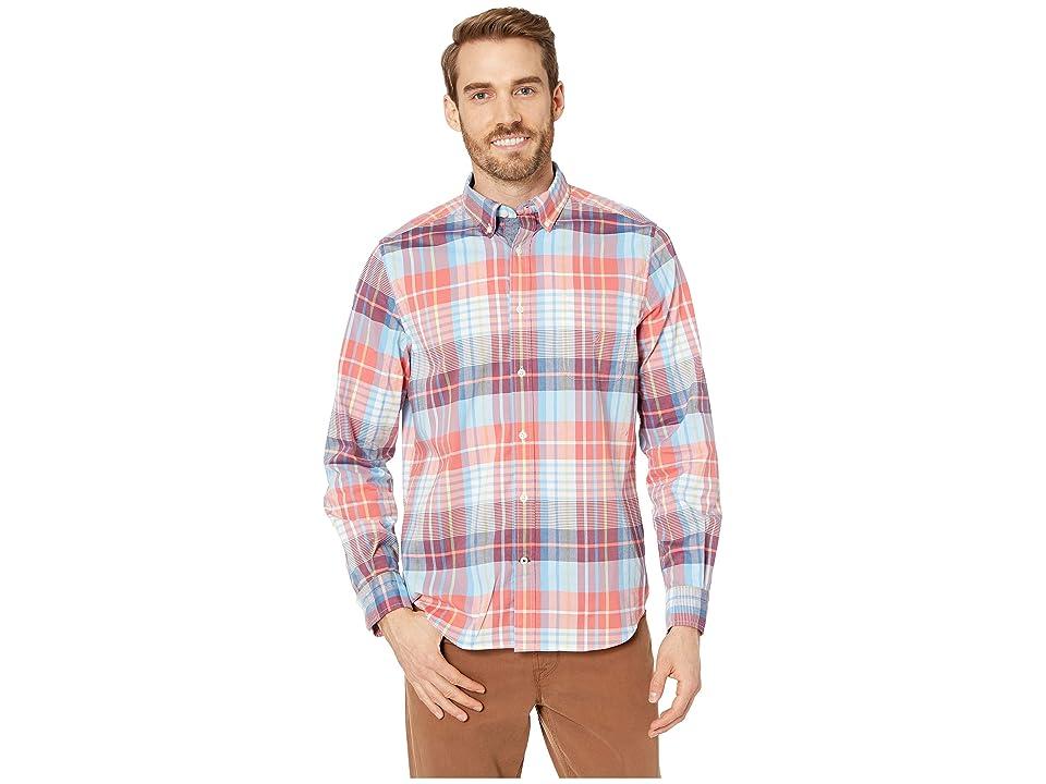 Nautica Long Sleeve Casual Warm Plaid Shirt (Spiced Coral) Men