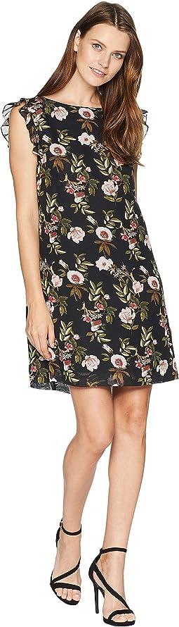 Ruffle Trim Chiffon Floral Dress