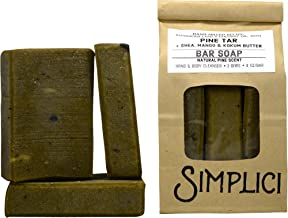Simplici Pine Tar Bar Soap - With Added Shea Butter, Mango Butter & Kokum Butter. Hand Milled, 4.0 OZ Bars (3 Count)