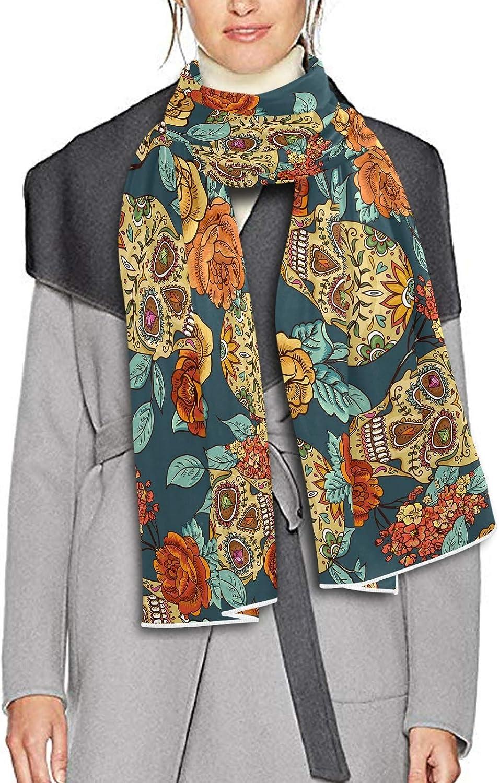 Scarf for Women and Men Floral Skull Rose Blanket Shawl Scarves Wraps Warm soft Winter Oversized Scarves Lightweight