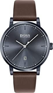 Hugo Boss Blue Dial Brown Leather Watch For Men, 1513791