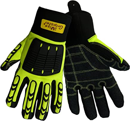 X-Large Yellow//Blue Bellingham C7963XL Extra Heavy-Duty Triple Layer Resistant Palm ANSI 4 Cut Level TPR Impact Protection Black//High-Visibility