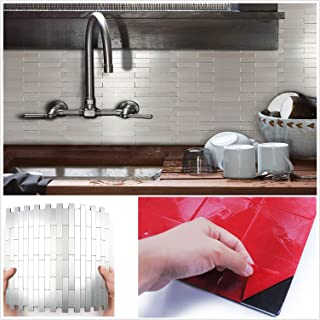 HomeyMosai Subway Stripe Puzzle Peel and Stick Tile Metal Backsplash for Kitchen Bathroom Stove Walls Self-Adhesive Aluminum Surface Metal Mosaic Tiles 3D Wall Sticker,Pack of 5 Tiles 12