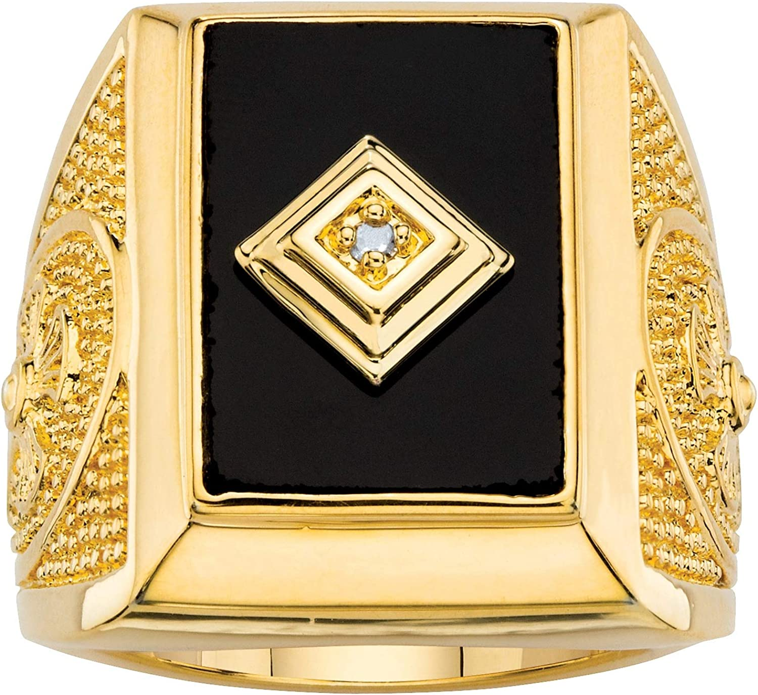 Palm Beach Purchase Jewelry Men's Genuine Black and Max 77% OFF 1 Accent Onyx Diamond
