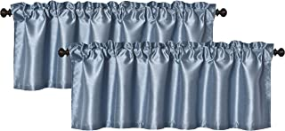 Aiking Home (Pack of 2) Solid Faux Silk Window Valance, 56 by 16 Inches, Slate